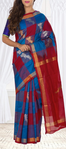 Red & Blue Traditional Silk Cotton Saree