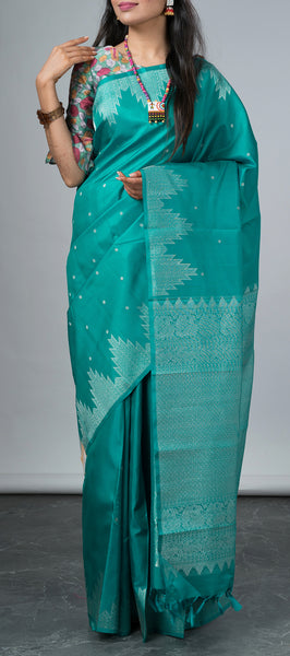 Teal Blue Kanchipuram Traditional Silk Saree