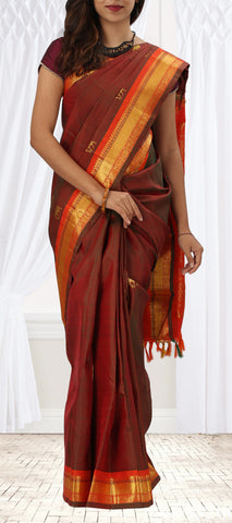 Maroon and Orange Pure Kanchipuram Handloom Silk Saree with Half-Fine Zari