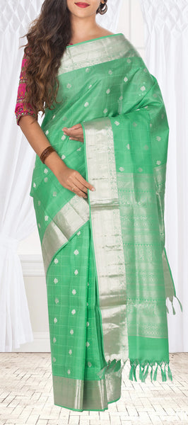 Light Green Soft Pure Kanchipuram Handloom Silk Saree