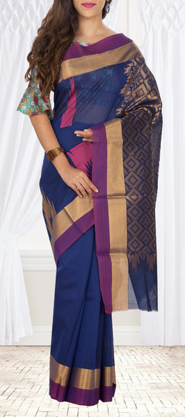 Dark Blue Semi Silk cotton Saree