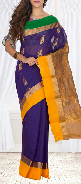 Purple, Yellow & Green Semi Silk cotton Saree