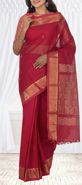 Maroon Summer Cotton Saree