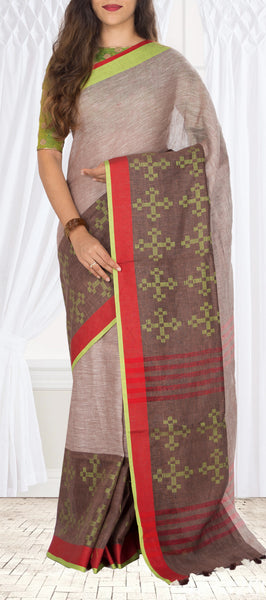 Taupe & Dark Brown Semi Linen Saree