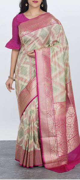 Cream Semi Tussar Silk Saree