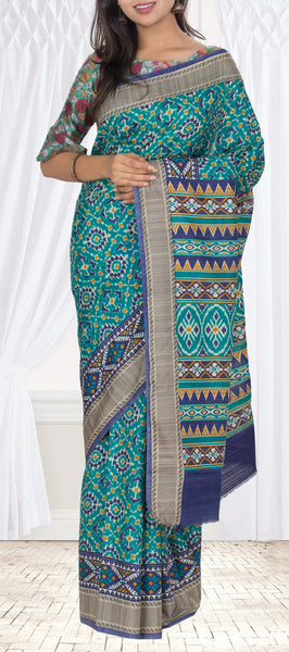 Teal Blue Semi Pochampalli Saree