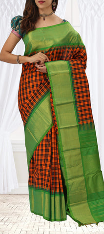 Green, Orange & Black Pure Kanchipuram Handloom Silk Saree