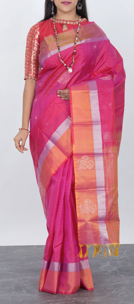 Light pink soft silk saree