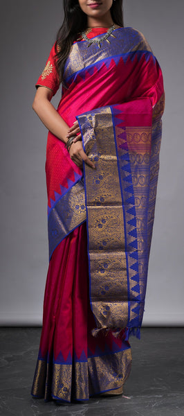 Dark Pink Lightweight Kanchipuram Silk Saree