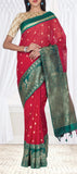 Red & Green Semi Silk Cotton Saree