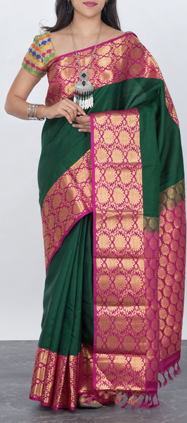 Dark green lightweight kanchipuram silk saree