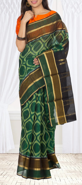 Dark Green Pochampalli Silk Cotton Saree
