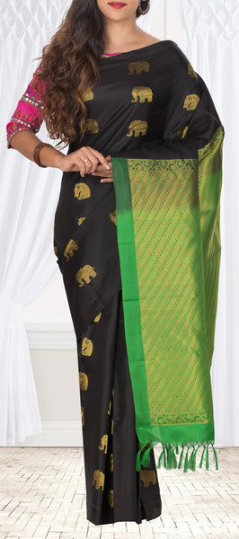 Black & Green Lightweight Pure Kanchipuram Handloom Silk Saree