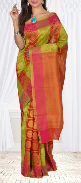 Green & Pinkish Orange Semi Silk Cotton Casual Saree
