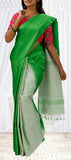 Leaf Green & White Soft Silk Saree