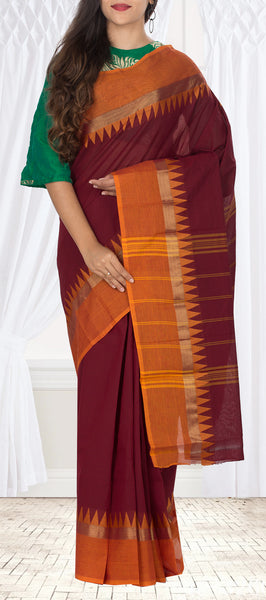 Maroon & Burnt Orange Traditional Cotton Saree