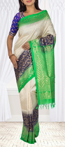 Ivory White, Green & Dark Blue Soft Silk Saree