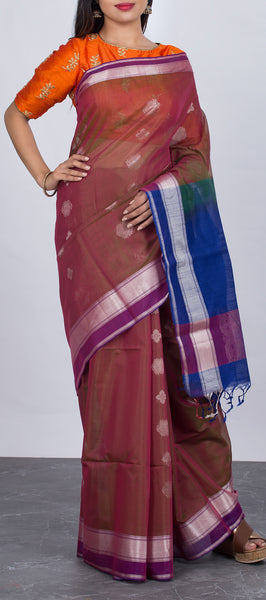 Marroon Ethnic Silk Cotton Saree