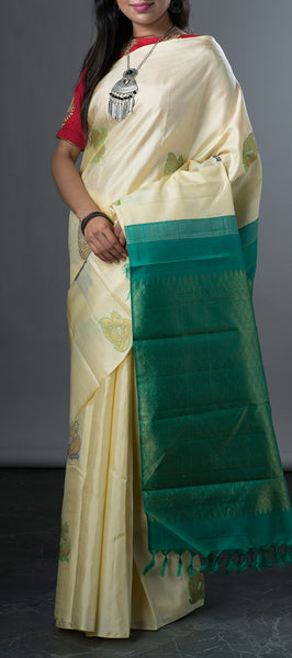 Borderless Cream Kanchipuram Silk Saree