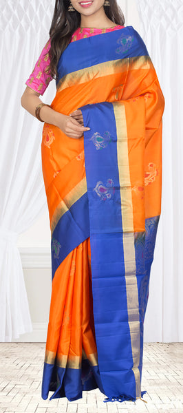 Orange & Navy Blue ure Soft Silk Saree — Diwali Collection