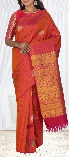 Magenta Pure Handloom Kanchipuram Silk Saree