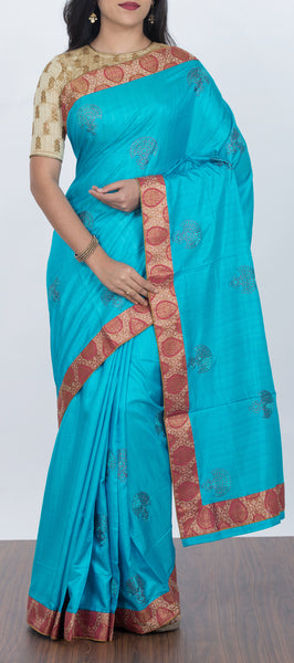 Light Blue Semi Jute Silk with Embroidery