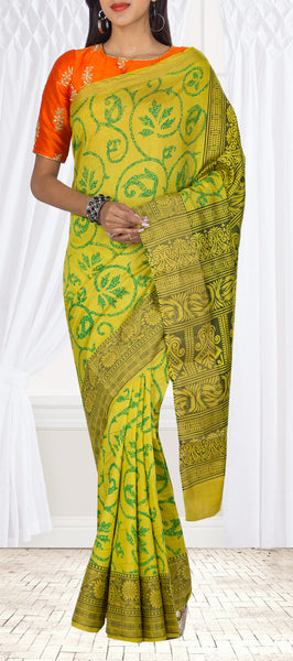 Neon Yellow Semi Kalamkari Casual Saree