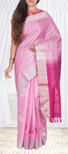 Lavender & Magenta Soft Silk Saree With Half-fine Zari