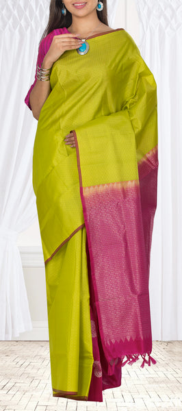 Parrot Green & Magenta Soft Silk Saree
