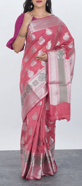 Candy Pink Semi Benarasi Saree