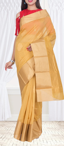 Beige & Gold Casual Cotton Saree — Diwali Collection