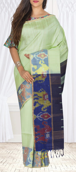 Light Green & Dark Blue Pure Jute Silk Saree