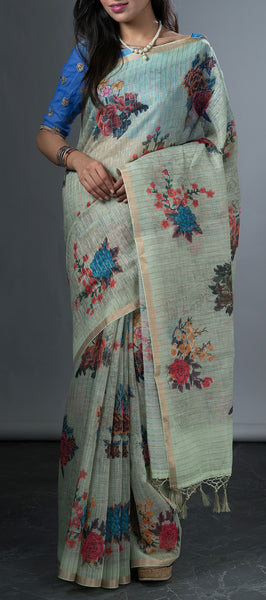 Sea Green Linen Saree with Floral Prints