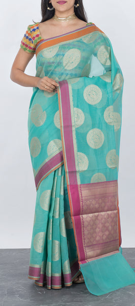 Sky Blue Organza Saree