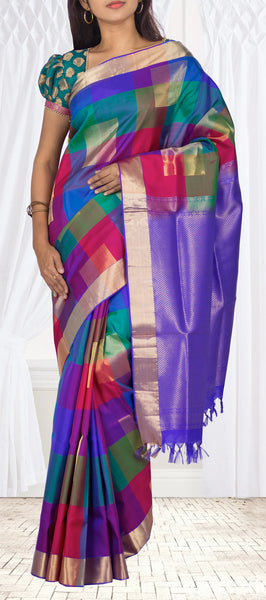Multicoloured Checked Soft Silk Saree