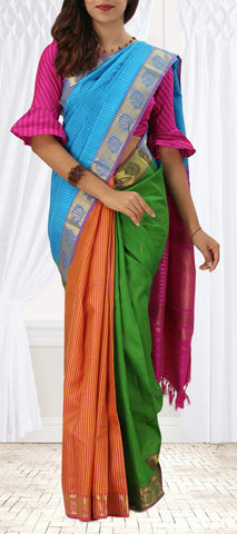 Blue, Orange And Green Pure Kanchipuram Handloom Silk Saree With Half-Fine Zari
