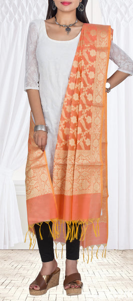 Light Orange Semi Benarasi Dupatta