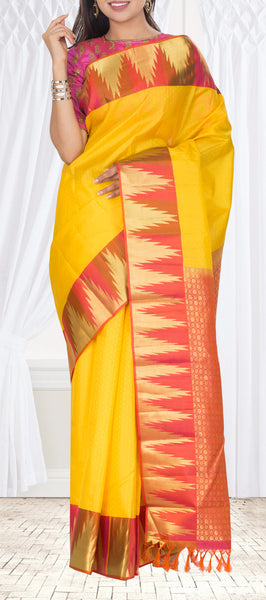 Yellow & Red Lightweight Kanchipuram Pure Silk Saree