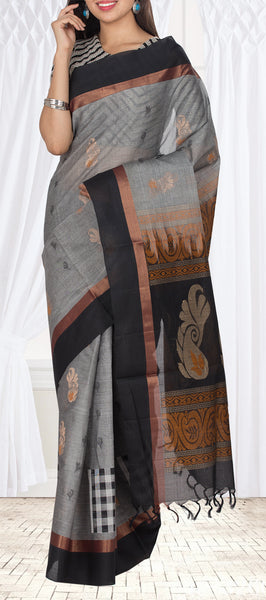 Grey & Black Maheshwari Cotton Saree