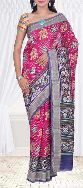 Purple Semi Pochampalli Saree