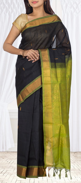Black & Green Traditional Silk Cotton Saree