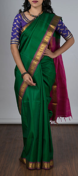 Green Traditional Lightweight Kanchipuram Saree