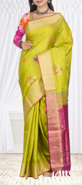 Parrot Green & Magenta Pure Soft Silk Saree With Pochampalli Patterns