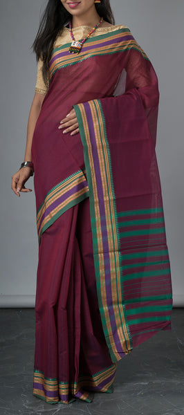 Purple Simple Cotton Saree