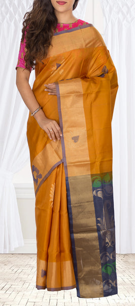 Light Brown & Dark Grey Soft Silk Saree