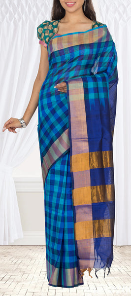 Light Blue & Dark Blue Traditional Silk Cotton Saree