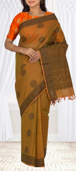 Rust & Green Maheshwari Cotton Ethnic Saree