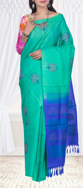 Peppermint Green & Royal Blue Pure Soft Silk Saree