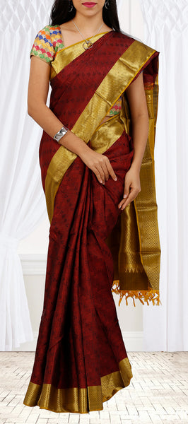 Maroon & Mustard Pure Kanchipuram Handloom Silk With Half-fine Zari