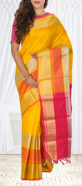 Mango Yellow & Red Lightweight Kanchipuram Handloom Silk Saree